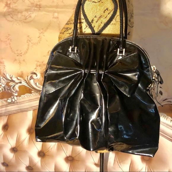 Valentino Handbags - Valentino Black Bow Patent Shoulder Bag